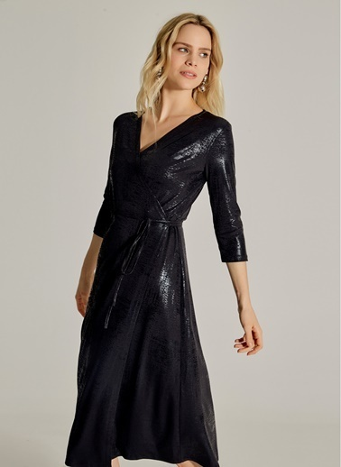 NGSTYLE Varaklı Kruvaze Midi Elbise Siyah